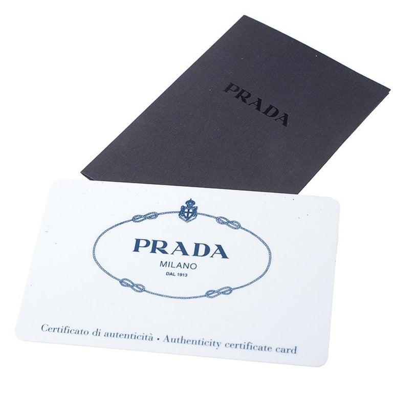 Prada Blue Saffiano Lux Leather Promenade Bag For Sale 7