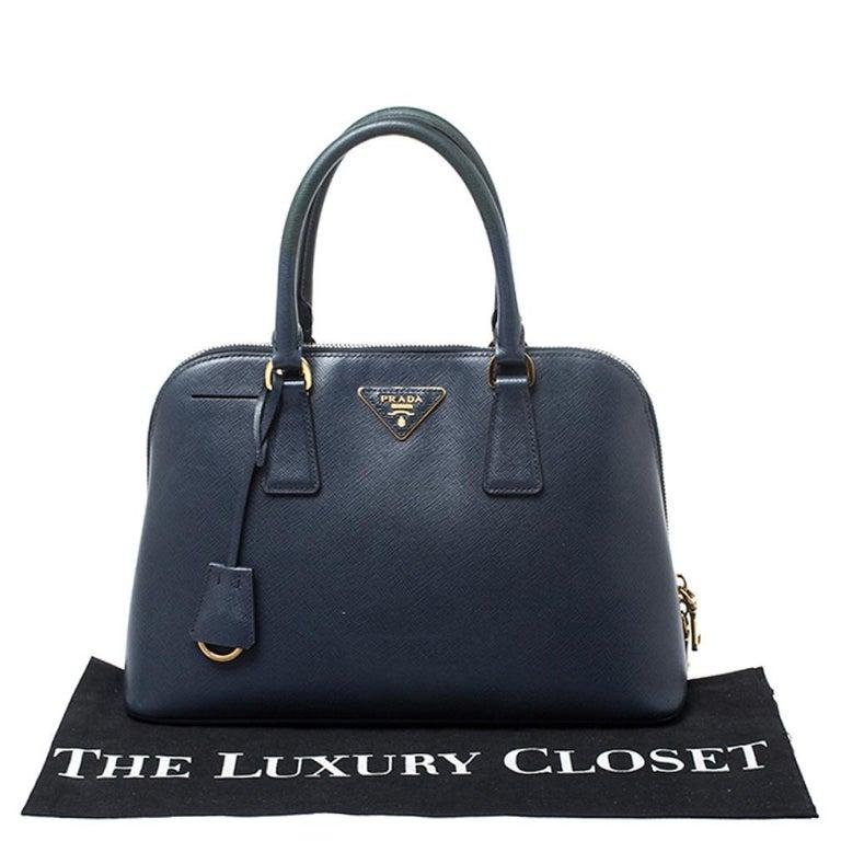 Prada Blue Saffiano Lux Leather Promenade Bag For Sale 8