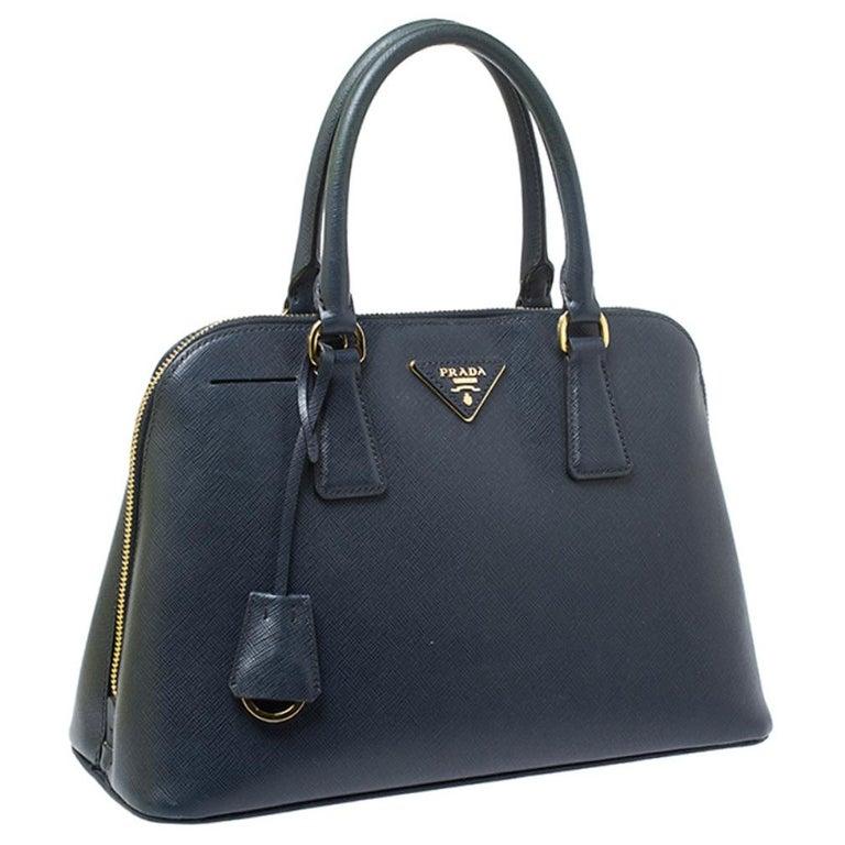 Women's Prada Blue Saffiano Lux Leather Promenade Bag For Sale