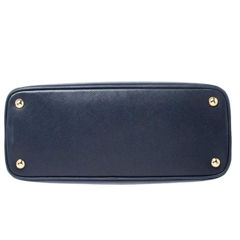 Prada Blue Saffiano Lux Leather Promenade Bag For Sale 1