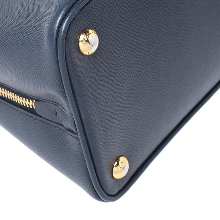 Prada Blue Saffiano Lux Leather Promenade Bag For Sale 3