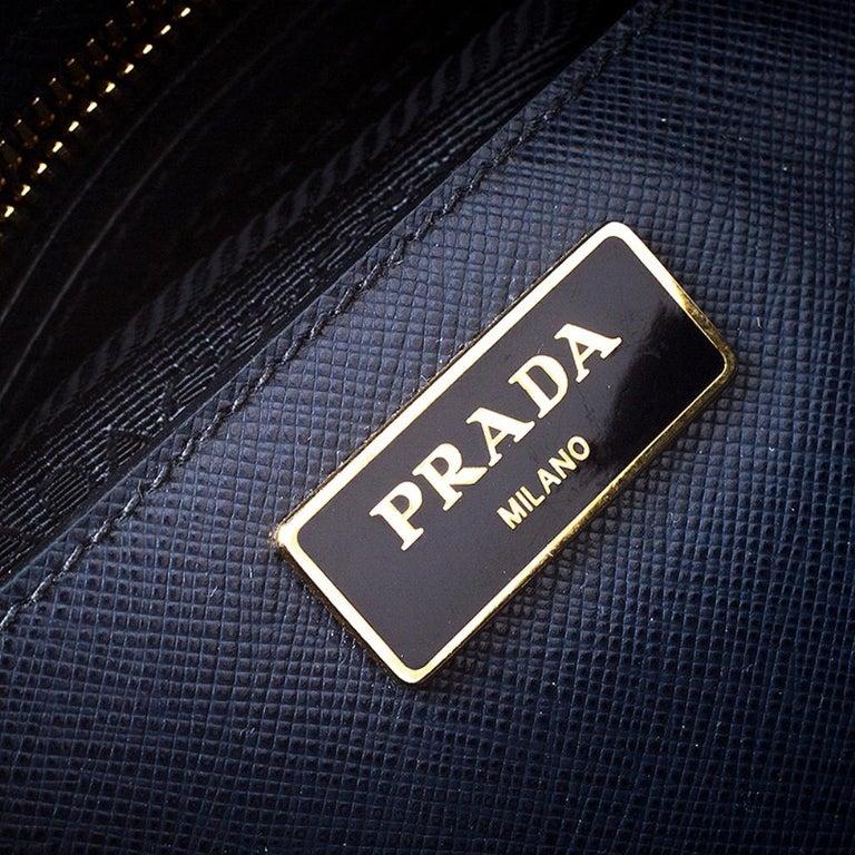 Prada Blue Saffiano Lux Leather Promenade Bag For Sale 4