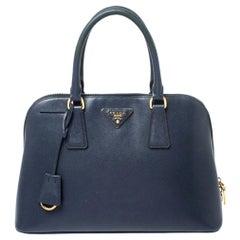 Prada Blue Saffiano Lux Leather Promenade Bag