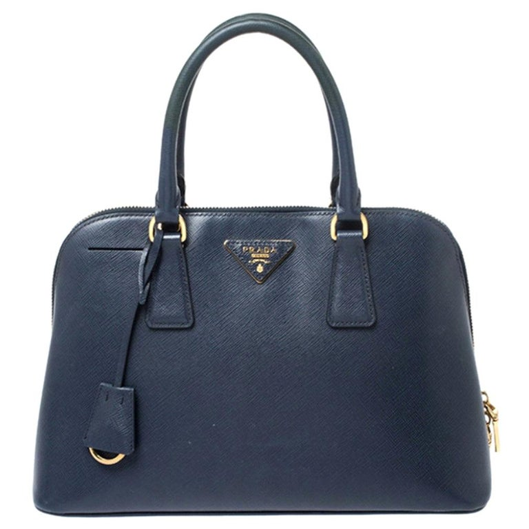 Prada Blue Saffiano Lux Leather Promenade Bag For Sale