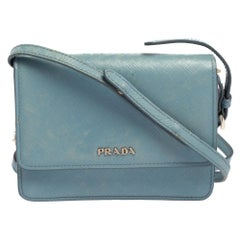 Prada Blue Saffiano Lux Leather Small Crossbody Bag