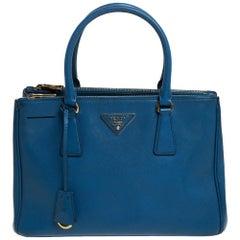Prada Blue Saffiano Lux Leather Small Double Zip Tote