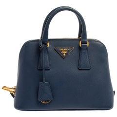 Prada Blue Saffiano Lux Leather Small Promenade Crossbody Bag