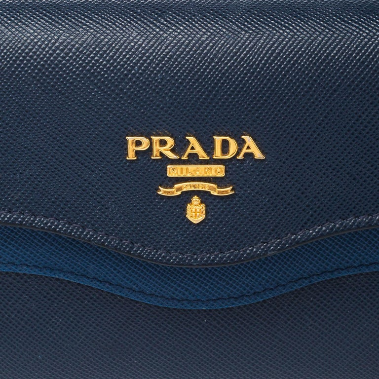 Prada Blue Saffiano Lux Leather Wave Continental Wallet For Sale 6