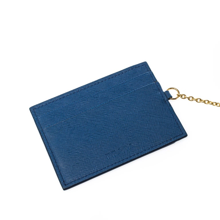 Prada Blue Saffiano Lux Leather Wave Continental Wallet For Sale 1