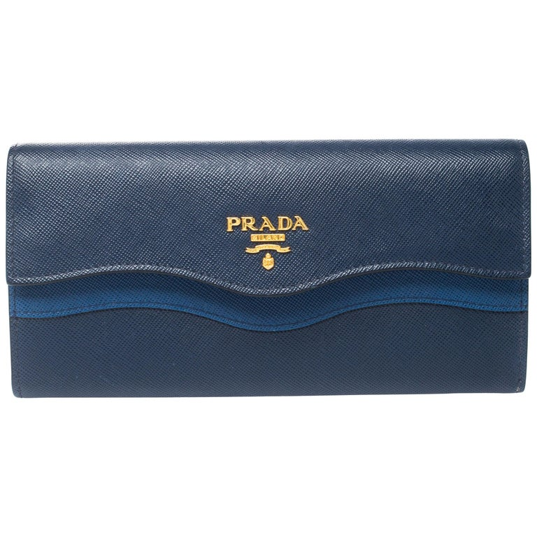 Prada Blue Saffiano Lux Leather Wave Continental Wallet For Sale