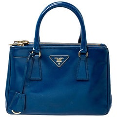 Prada Blue Saffiano Lux Patent Leather Small Double Zip Tote