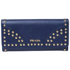 Prada Blue Saffiano Lux Studded Leather Flap Continental Wallet