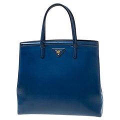 Prada Blue Saffiano Patent Leather Parabole Tote