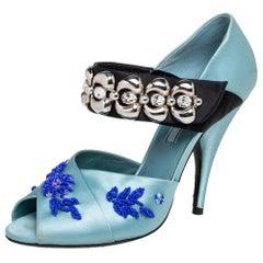 Prada Blue Satin Embroidered Mary Jane Pumps Size 38