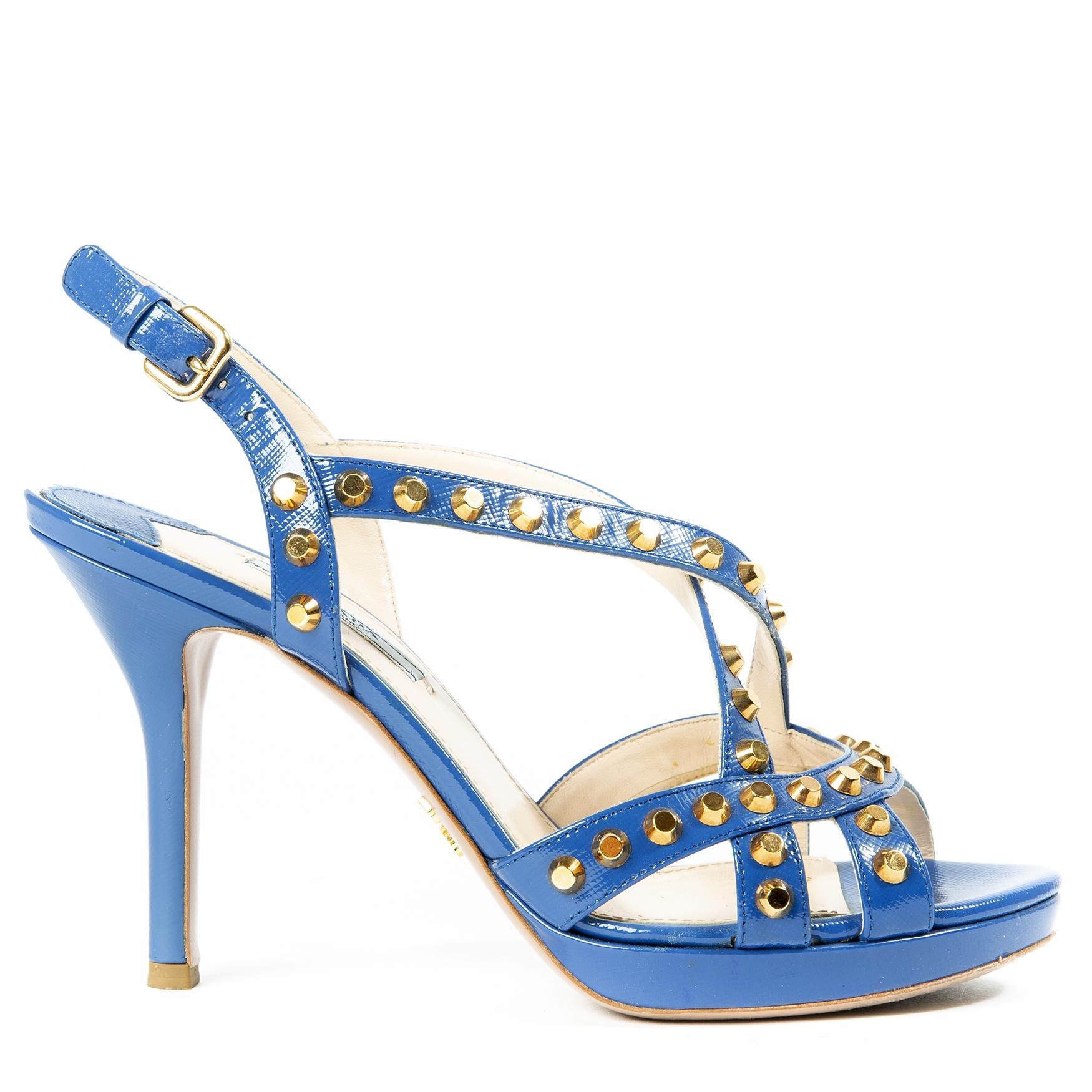 Prada Blue Studded Saffiano Platform