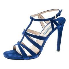 Prada Blue Suede Cross T Strappy Sandals Size 38.5