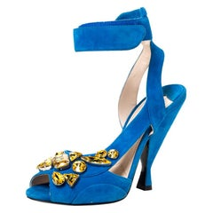 Prada Blue Suede Crystal Embellished Ankle Cuff Sandals Size 38.5