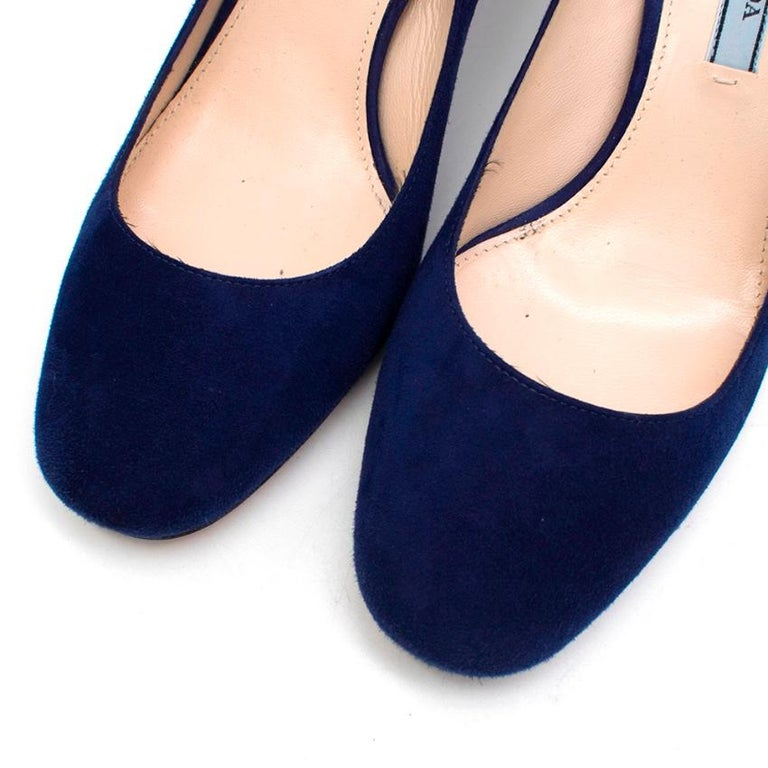 Prada Blue Suede Geometric Block Heel Pumps 37 For Sale 1