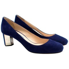 Prada Blue Suede Geometric Block Heel Pumps 37