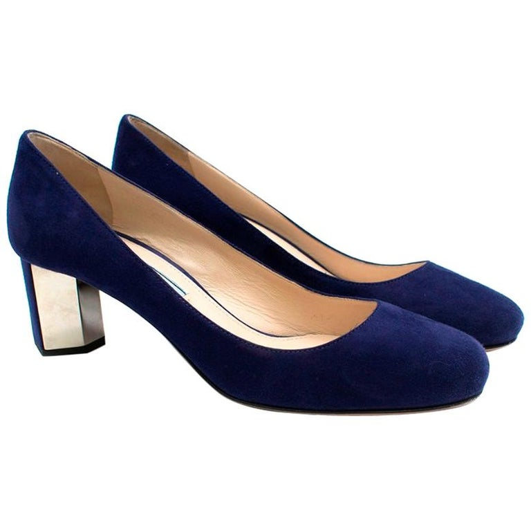 Prada Blue Suede Geometric Block Heel Pumps 37 For Sale