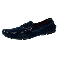 Prada Blue Suede Penny Slip On Loafers Size 42