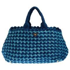 Prada Blue/Turquoise Raffia Crochette Shopper Tote
