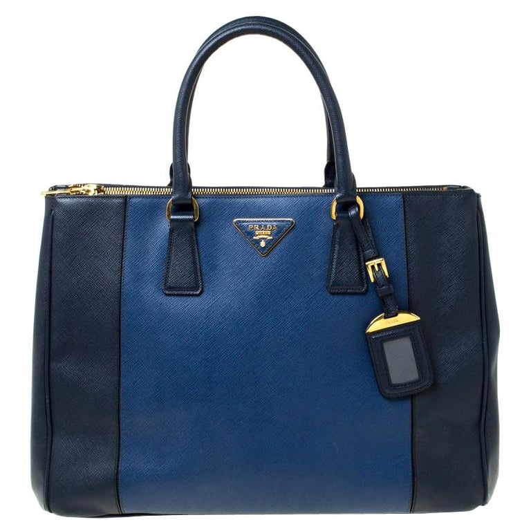Prada Blue Two-Tone Saffiano Lux Leather Large Double Zip Tote For Sale