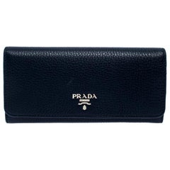 Prada Blue Vitello Daino Leather Continental Wallet