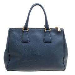 Prada Blue Vitello Daino Leather Double Zip Top Handle Bag