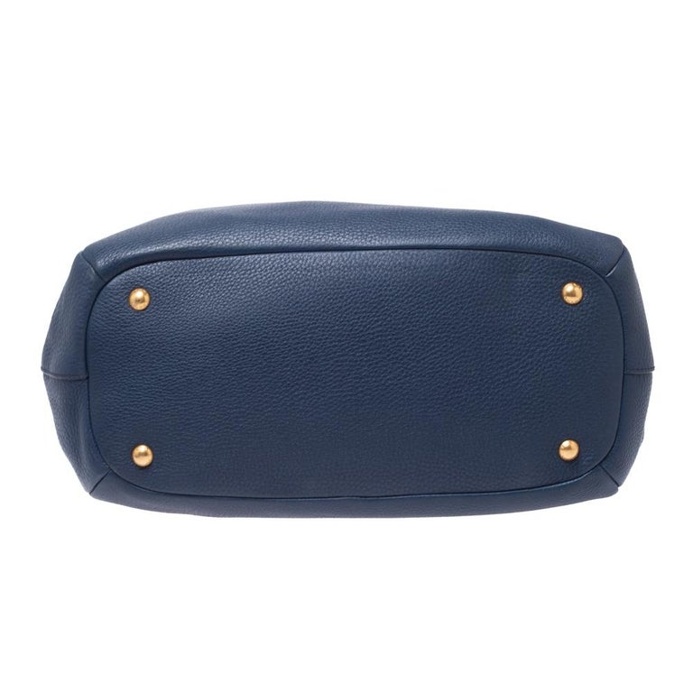 Prada Blue Vitello Daino Leather Sacca 2 Manici Hobo For Sale 6
