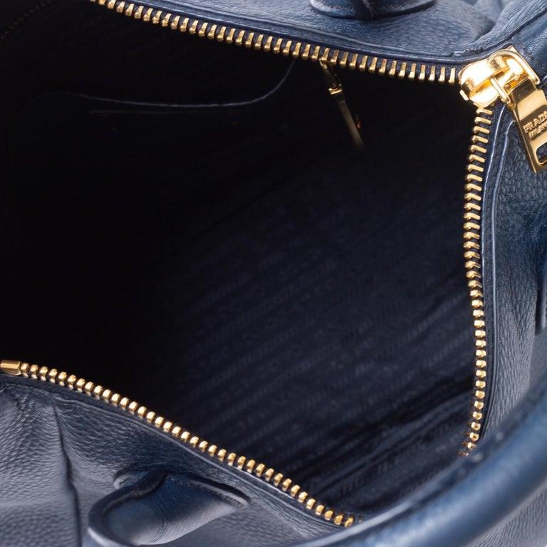 Women's Prada Blue Vitello Daino Leather Sacca 2 Manici Hobo For Sale
