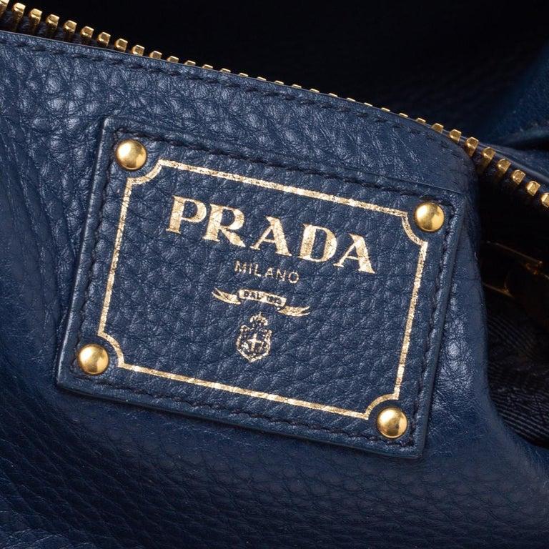 Prada Blue Vitello Daino Leather Sacca 2 Manici Hobo For Sale 1