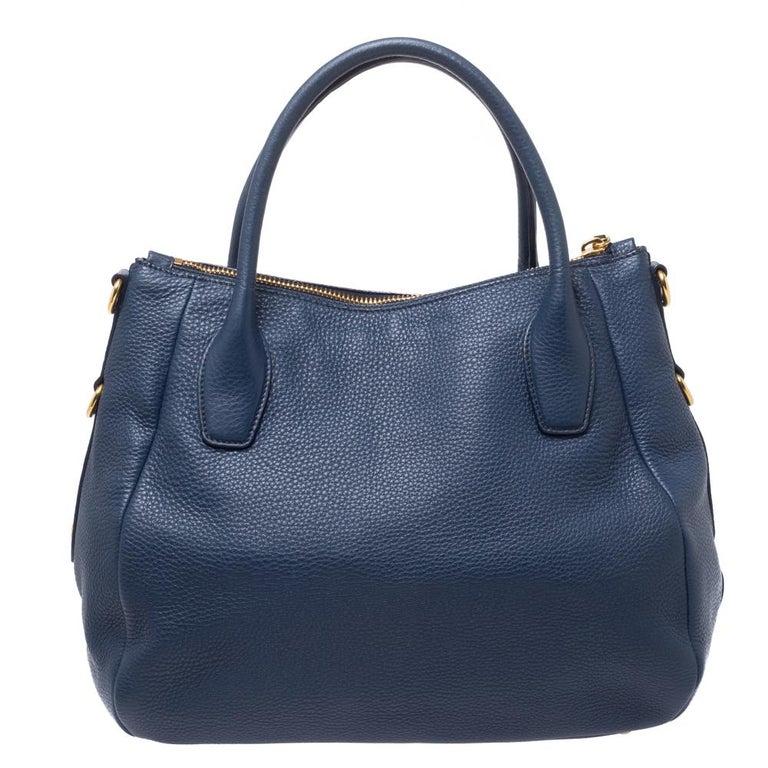 Prada Blue Vitello Daino Leather Sacca 2 Manici Hobo For Sale 2