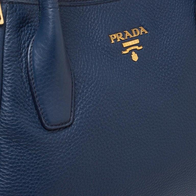Prada Blue Vitello Daino Leather Sacca 2 Manici Hobo For Sale 3