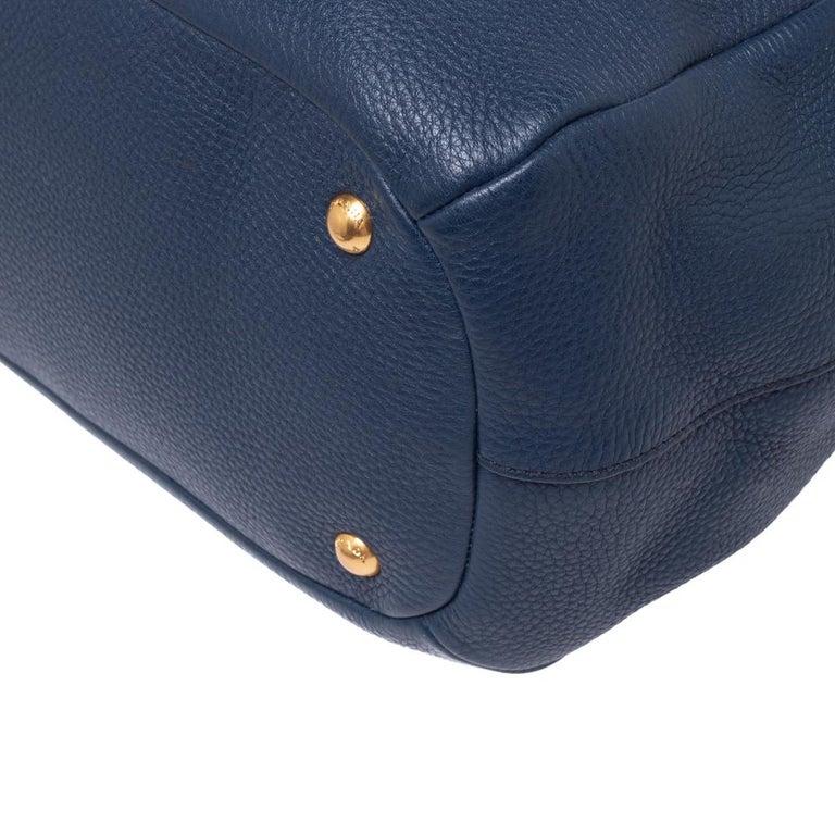 Prada Blue Vitello Daino Leather Sacca 2 Manici Hobo For Sale 4