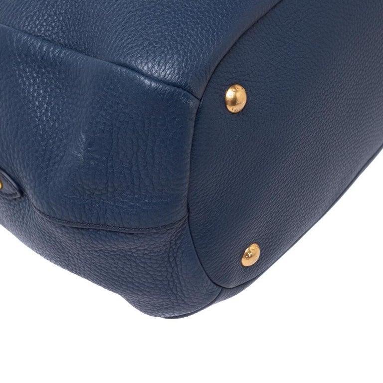 Prada Blue Vitello Daino Leather Sacca 2 Manici Hobo For Sale 5