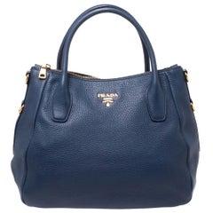 Prada Blue Vitello Daino Leather Sacca 2 Manici Hobo