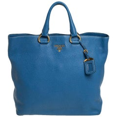 Prada Blue Vitello Daino Leather Tote