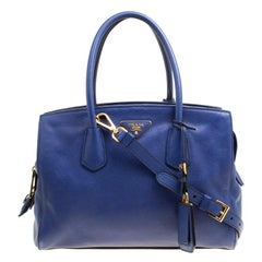 Prada Blue Vitello Grain Leather Two Way Top Handle Bag