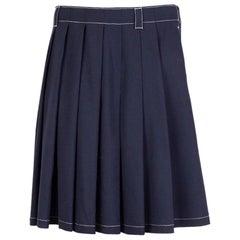 PRADA blue wool WHITE STITCHING PLEATED Skirt 40 S
