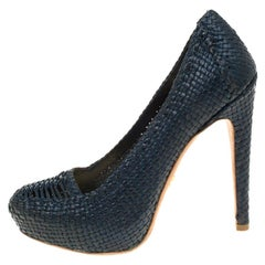 Prada Blue Woven Leather Madras Platform Pumps Size 38