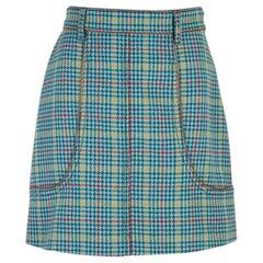 PRADA blue yellow red wool blend HOUNDSTOOTH Skirt 42 M