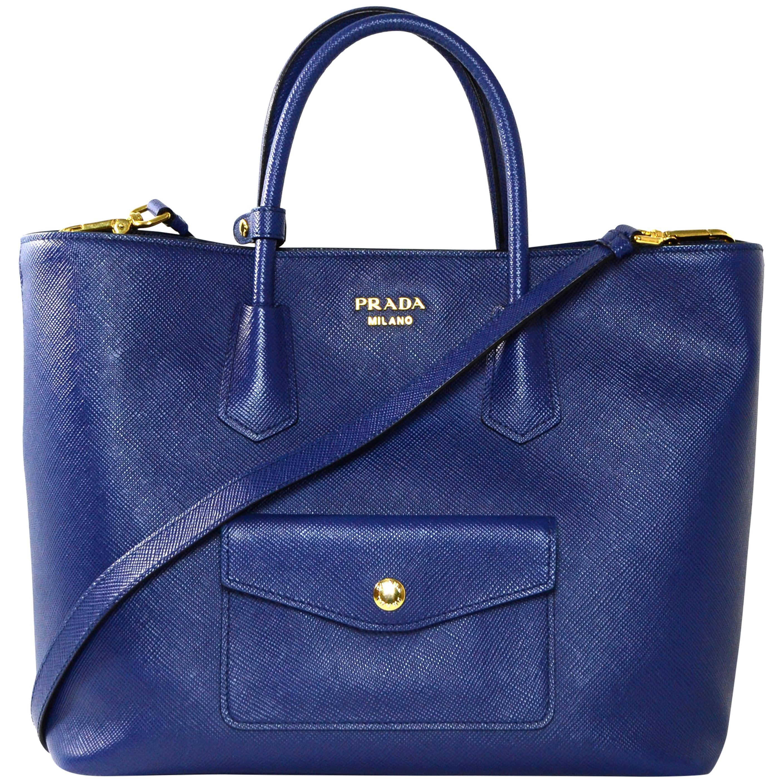 Prada Bluette Blue Saffiano Front Pocket Tote Bag w/ Detachable Strap