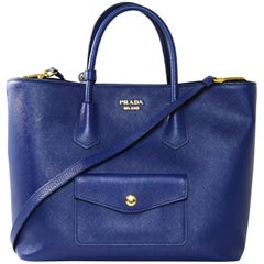 Prada Bluette Blue Saffiano Front Pocket Tote Bag w/ Detachable Strap