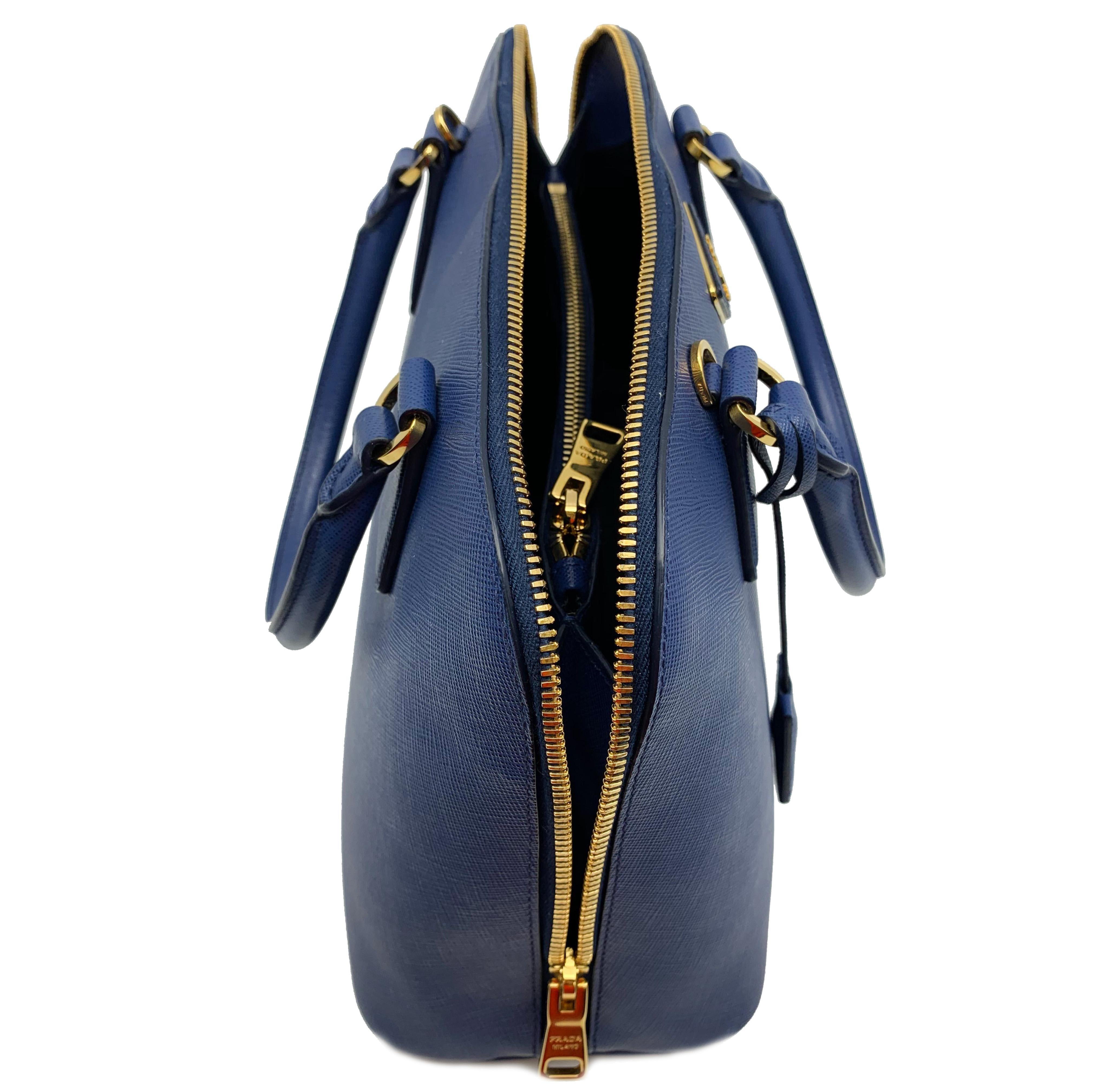 64e90cccbe35 Prada Bluette Saffiano Lux Leather Promenade Satchel Bag 1BA837 F0016 For  Sale at 1stdibs
