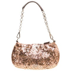 Prada Blush Pink/Bronze Satin Sequin Embellished Shoulder Bag