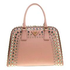 Prada Blush Pink/Burgundy Saffiano Lux Leather Pyramid Frame Top Handle Bag