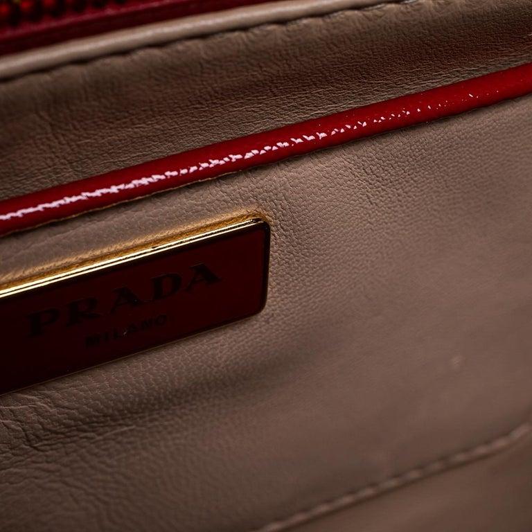 Women's Prada Blush Pink/Red Patent Leather Pyramid Frame Bag