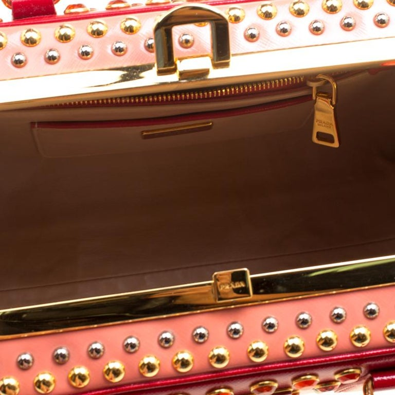 Prada Blush Pink/Red Patent Leather Pyramid Frame Top Handle Bag For Sale 2