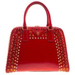 Prada Blush Pink/Red Patent Leather Pyramid Frame Top Handle Bag